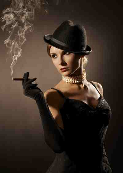 Sexy Lady Smoking Cigar