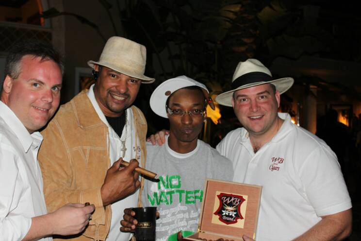 "John Ost, Walter Briggs, Rapper ""TI"" and Johnny Kovar at the House of Conjure Super Bowl Party"