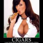 Poster of a sexy gal with a WB Brand cigar.